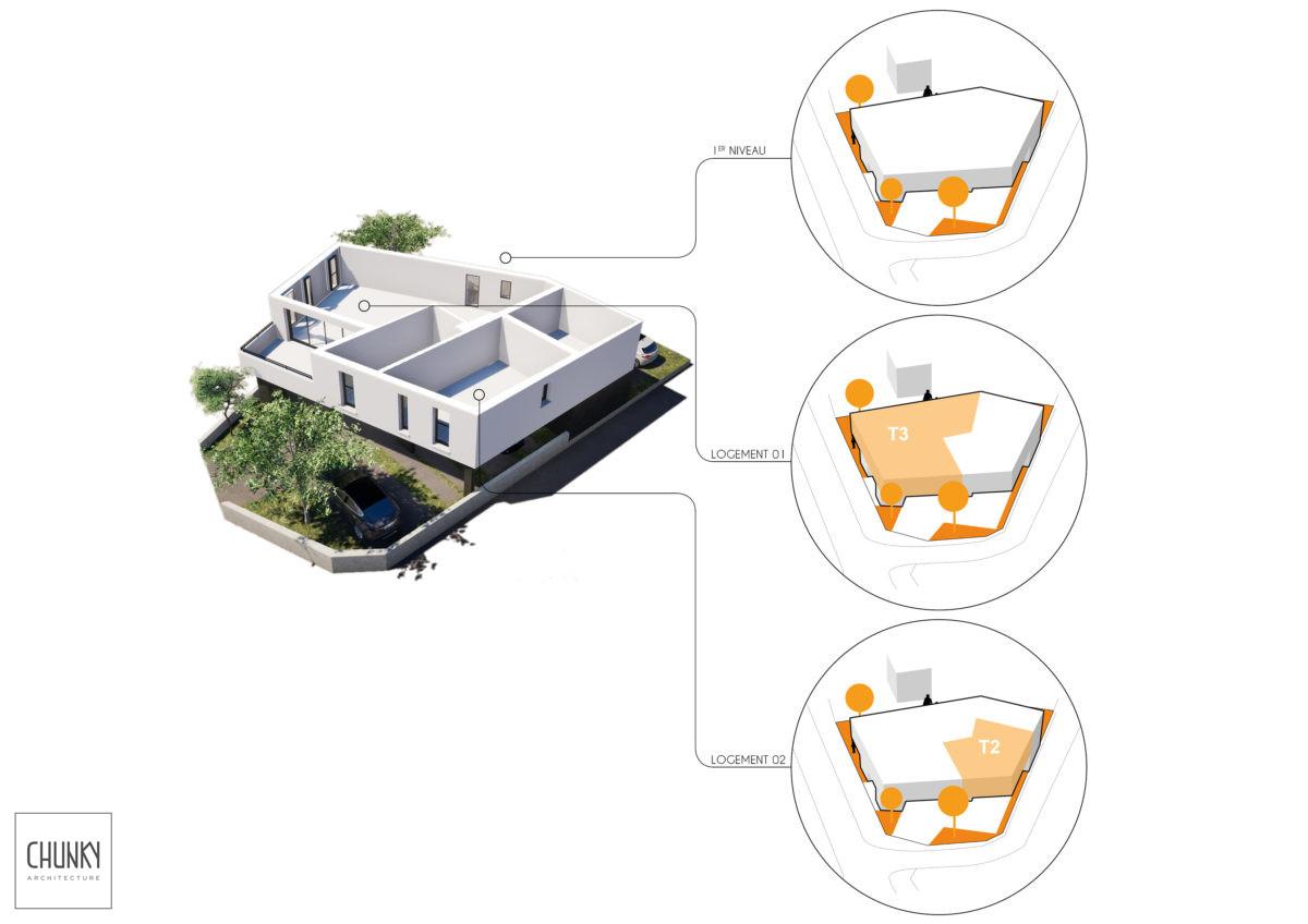 Création d'un immeuble de 4 logements à Anglet Schéma technique R+1