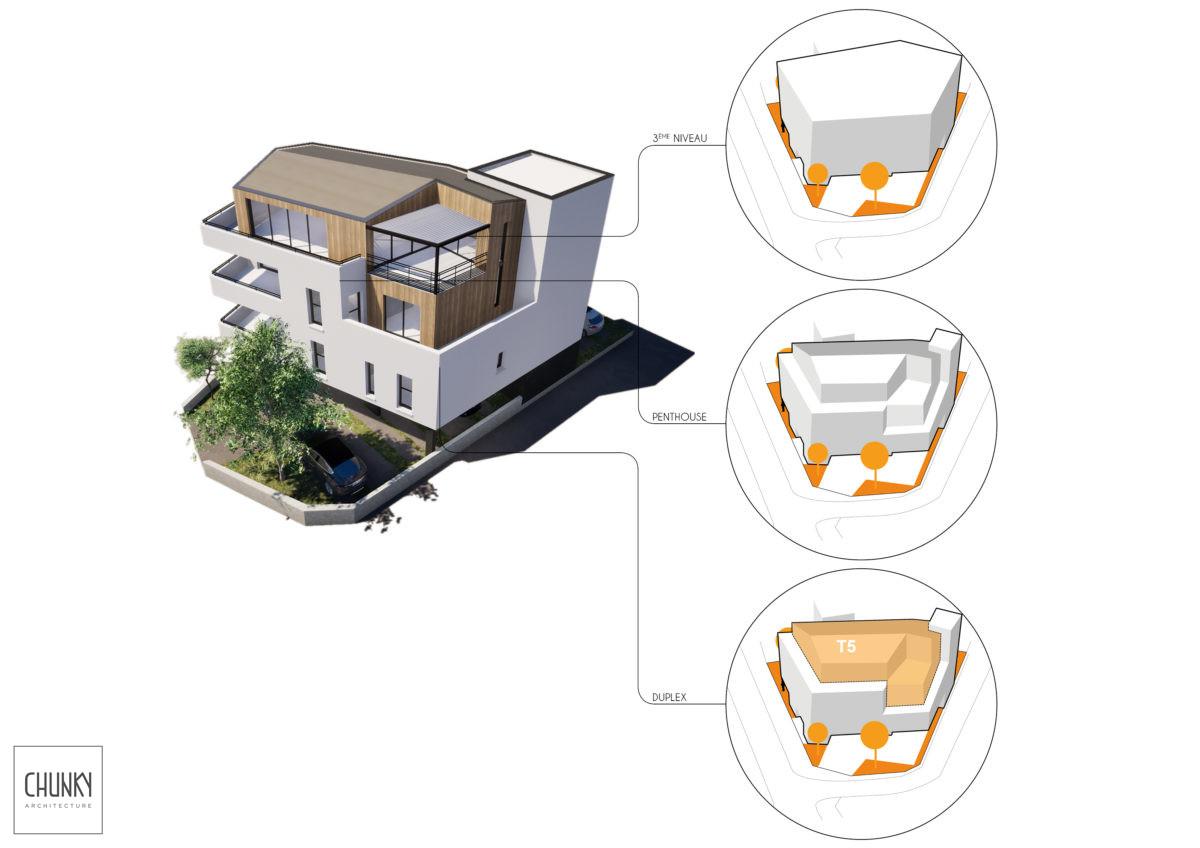 Création d'un immeuble de 4 logements à Anglet Schéma technique Rooftop
