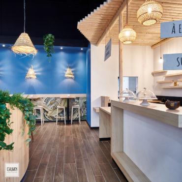 Focus poste accueil pour le projet d'aménagement d'un restaurant indonésien à Saint-Pierre d'Irube, dans la galerie du centre commercial Ametzondo